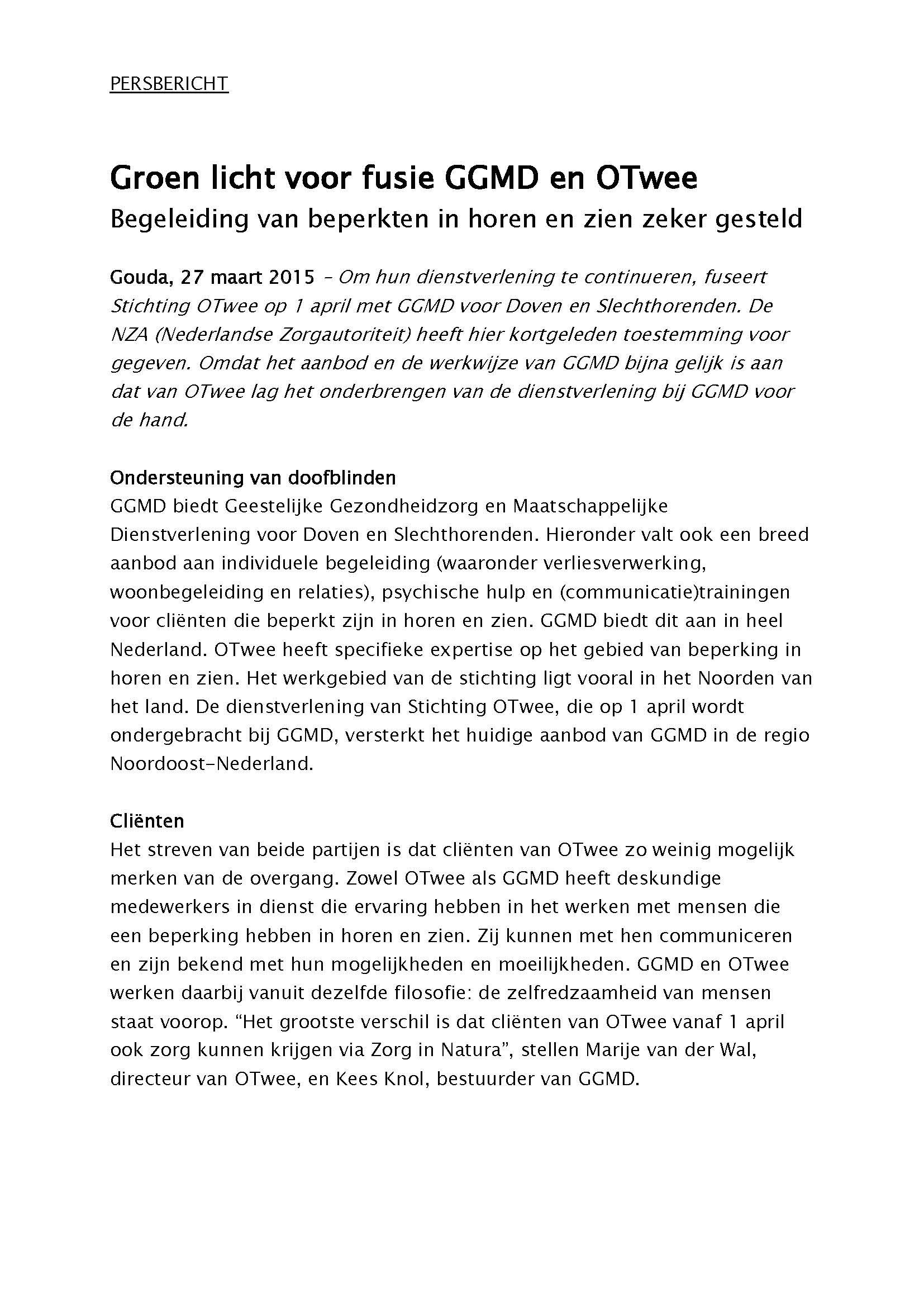 150327 persbericht samenwerking GGMD-OTwee