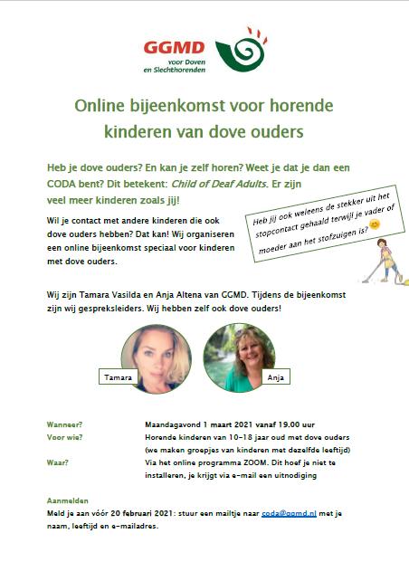Februari 2021 Online bijeenkomst voor horende kinderen van dove ouders